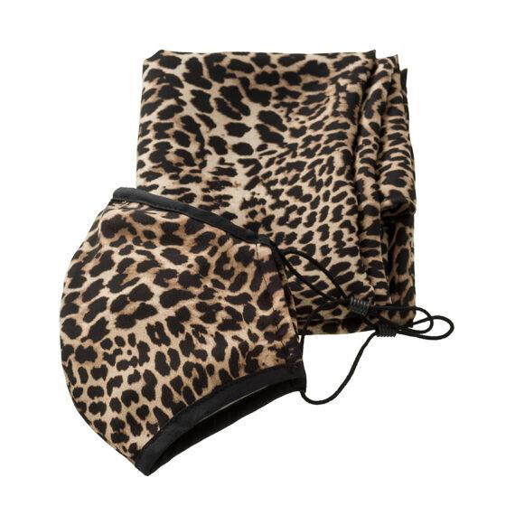 zijde mondkapje met stola in een panterprint